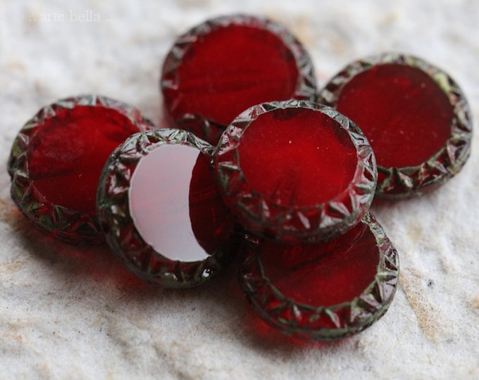 CRANBERRY SUN No. 2 .. 6 Premium Picasso Czech Glass Coin Beads 12mm (6247-6)