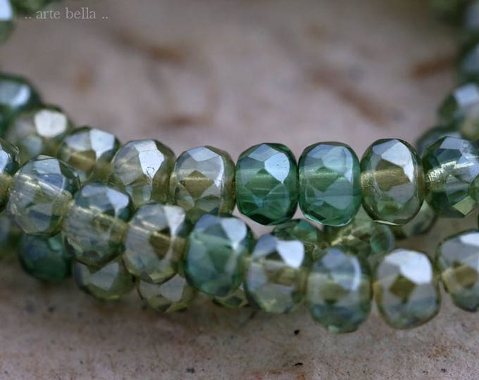 THYME AND EMERALD .. 30 Picasso Czech Rondelle Glass Beads 3x5mm (6179-st)