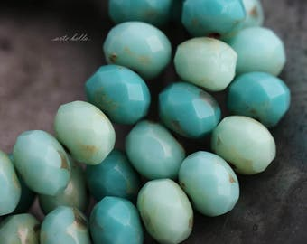 MIXED BITS No. 3 .. 25 Picasso Czech Faceted Rondelle Beads 6x9mm (5727-25)