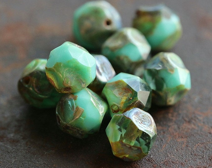 AQUARIUM NUGGETS .. NEW 10 Premium Picasso Czech Glass Central Cut Beads 9mm (8561-10)