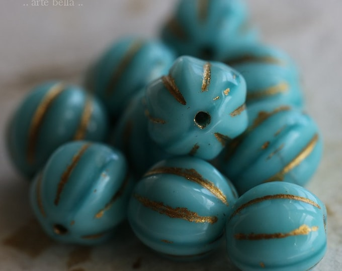 sale .. GOLDEN TURQUOISE MELONS 8mm .. 10 Premium Picasso Czech Glass Melon Beads (6449-10)