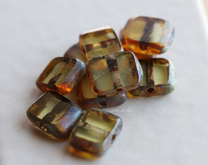 RUSTIC GOLDEN FOG .. 10 Premium Picasso Czech Glass Rectangle Beads 8x10mm (4961-10)