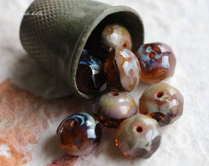 sale .. AMBER AND LAVENDER .. 10 Premium Picasso Czech Glass Beads 6x8-9mm (5739-10)