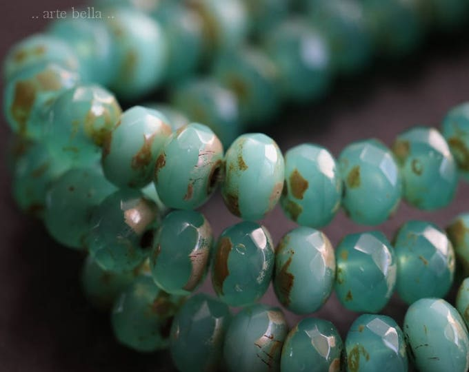 TEAL TIDBITS No. 2 .. 30 Premium Picasso Czech Rondelle Glass Beads 3x5mm (6033-st)