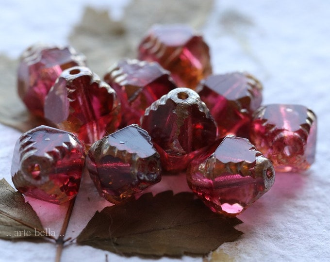SILVERED SANGRIA TINK .. 6 Premium Picasso Czech Glass Faceted Bicone Beads 8x10mm (7878-6)