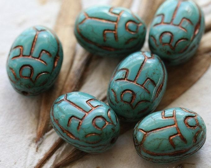TURQUOISE SCARAB .. 6 Picasso Czech Glass Scarab Beads 10x13mm (5122-6)