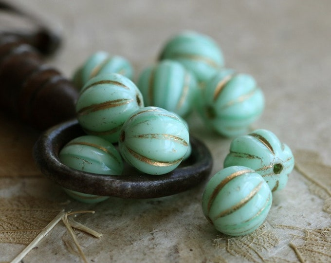sale .. GOLDEN MINT MELONS 8mm .. 10 Premium Picasso Czech Glass Melon Beads (7175-10)