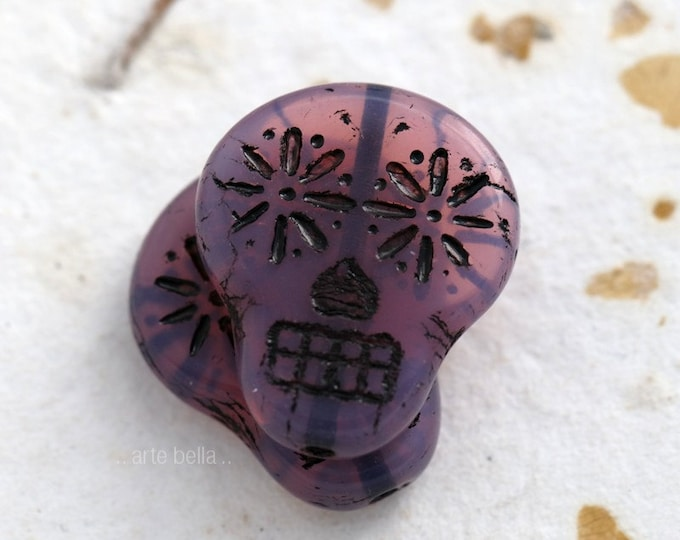 LILAC SUGAR SKULLS .. 2 Picasso Czech Sugar Skull Beads 20x17mm (5471-2)