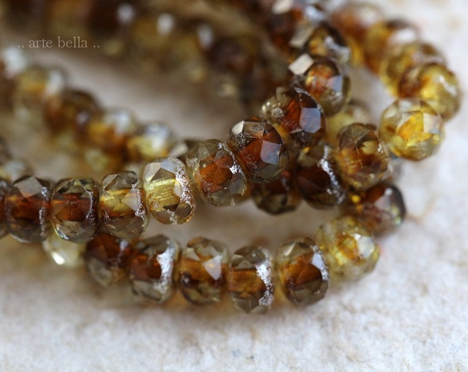 GOLDEN AMBER BABIES .. New 30 Premium Czech Glass Faceted Rondelle Beads 3x5mm (7300-st)