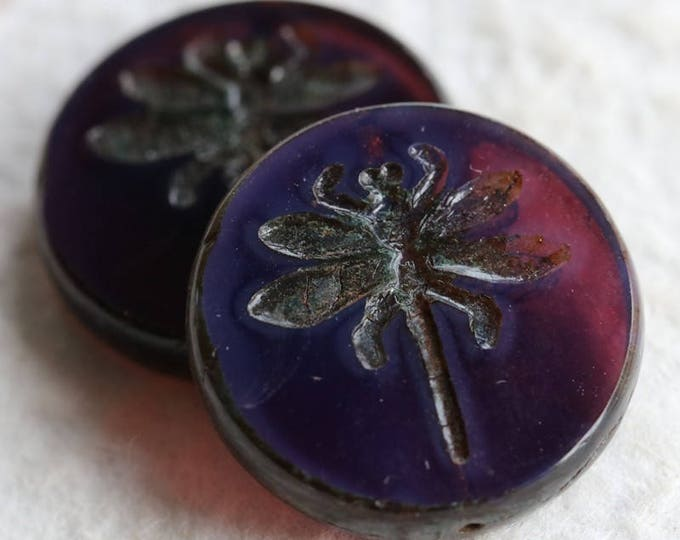 PURPLE DRAGONFLY .. 2 Premium Czech Picasso Glass Dragonfly Beads 23mm (6067-2)