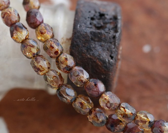 AMBER PLUMS .. 50 Premium Picasso Faceted Czech Glass Beads 4mm (5663-st)