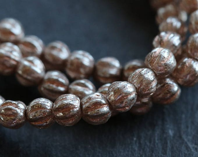 SILVERED PEACH MELONS .. 50 Premium Picasso Czech Glass Melon Beads 4mm (6005-st)