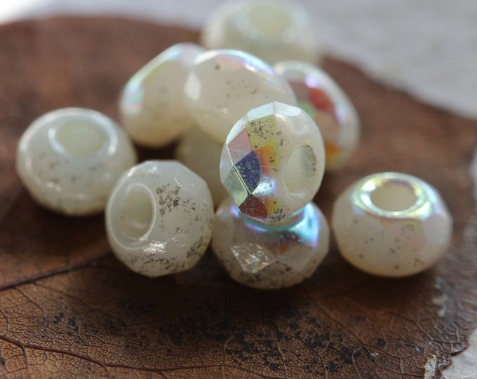 MYSTIC OPAL ROLLERS No. 2 .. 10 Premium Czech Glass Large Hole Roller Beads 6x9mm (8314-10)