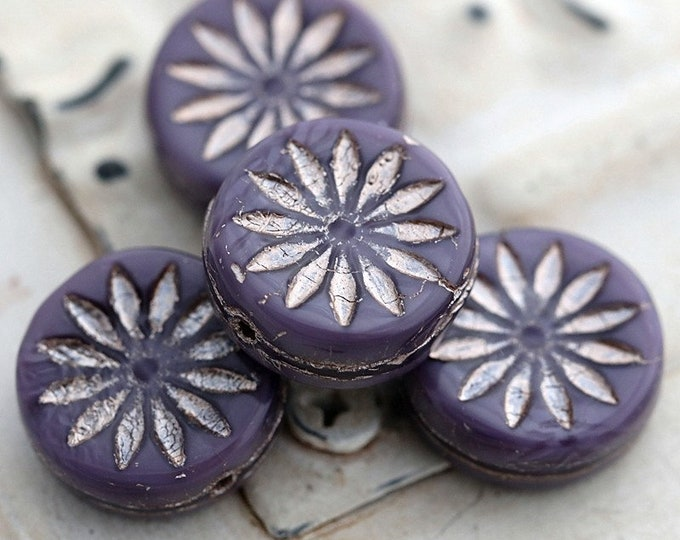 PINK PURPLE ASTER .. 4 Premium Picasso Czech Glass Aster Coin Beads 12mm (7844-4)