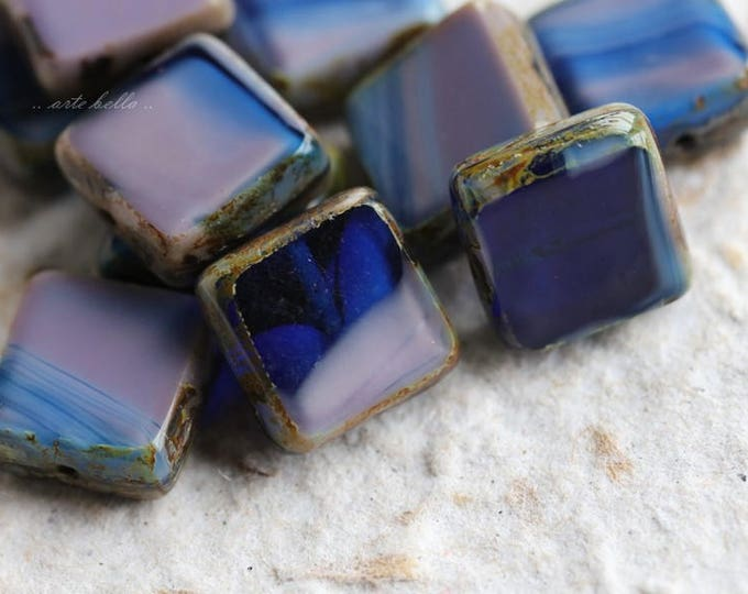 LAVENDER INK .. 10 Premium Picasso Czech Glass Square Beads 11mm (5786-10)