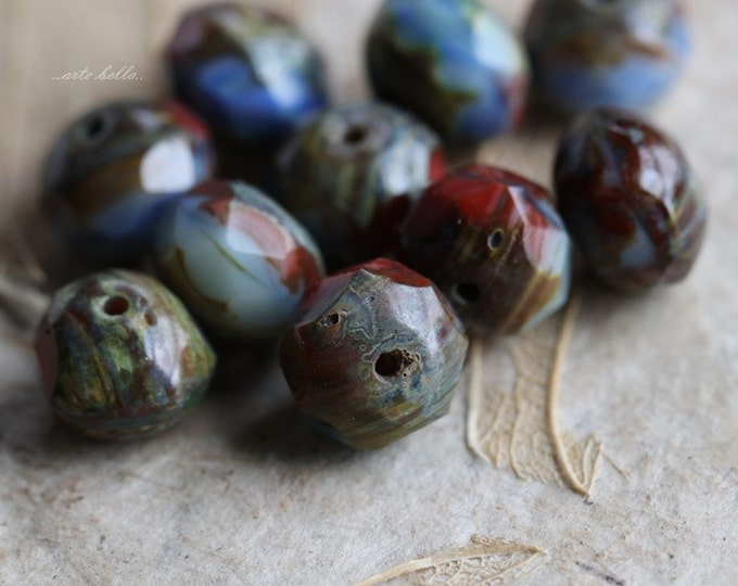 sale .. PATRIOTIC .. 10 Premium Czech Picasso Rondelle Glass Beads 6x9mm (5394-10)