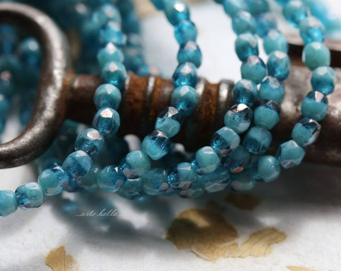 CAPRI OCEAN BITS .. 50 Premium Picasso Faceted Czech Glass Beads 3mm (5802-st)
