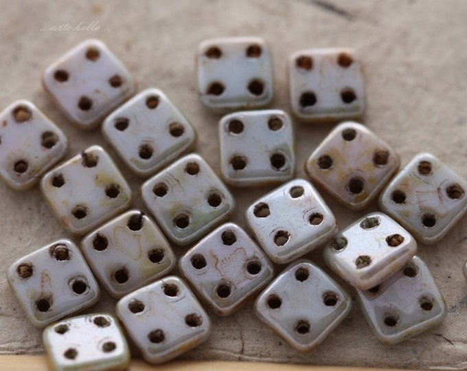 clearance .. TILE No. 4439 .. 20 Picasso Glass CzechMate Quadra Tile Beads 6mm (4439-20)