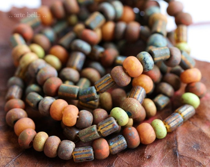 "BOHEMIAN SEED MIX No. 8293 .. 20"" Premium Matte Picasso Czech Glass Striped Seed Bead Mix Size 4/0 (8293-st)"