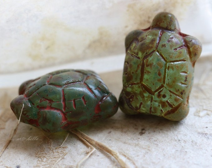 AGED TURTLES .. 2 Czech Picasso Glass Turtle Beads 20x8mm (5302-2)