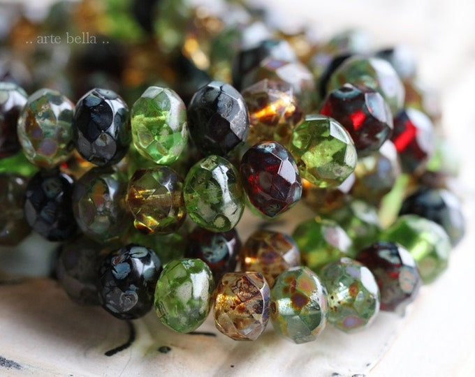 MEDLEY No. 3223 .. 25 Premium Picasso Czech Glass Rondelle Mix Beads 6x8mm (3223-st)