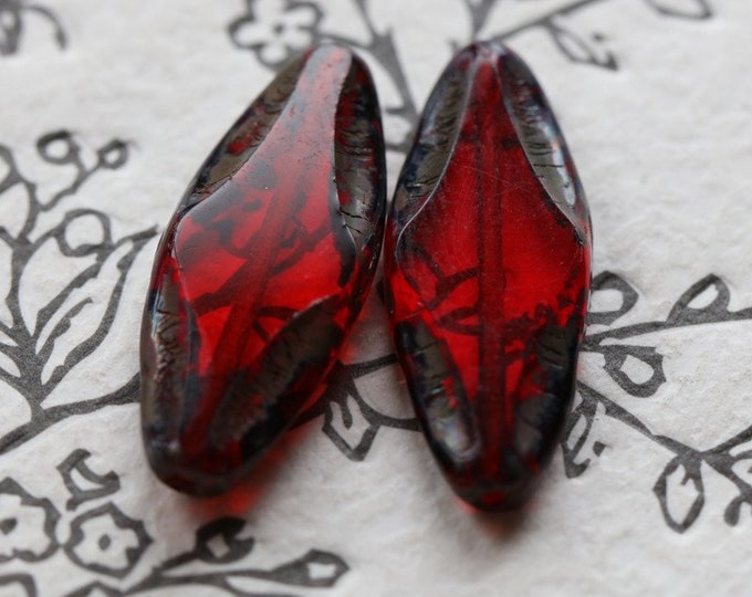 CRANBERRY PETALS No. 2 .. New 2 Premium Picasso Czech Glass Spindle Beads 25x10mm (7268-2)