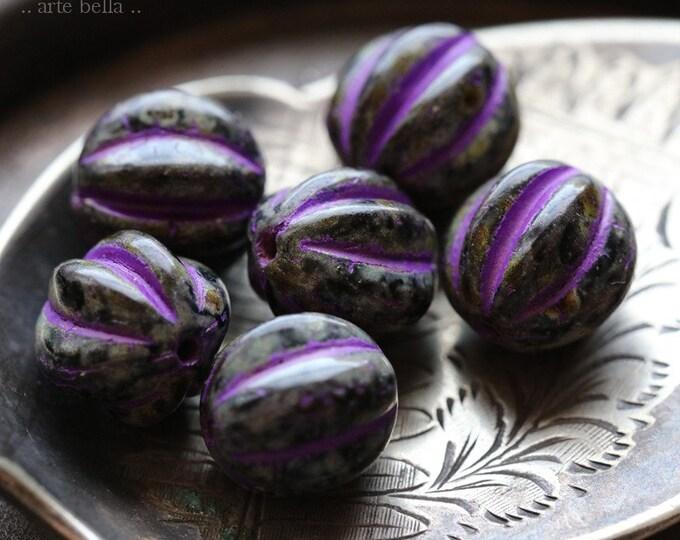 PURPLE TWILIGHT MELONS 10mm .. 6 Premium Picasso Czech Glass Melon Beads (7189-6)