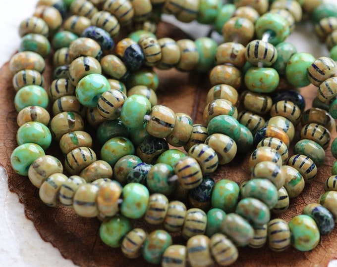 """AGED STRIPED SEEDS No. 8107 .. 20"""" Premium Picasso Czech Glossy Glass Aged Striped Seed Bead Mix Size 5 (8107-st)"""