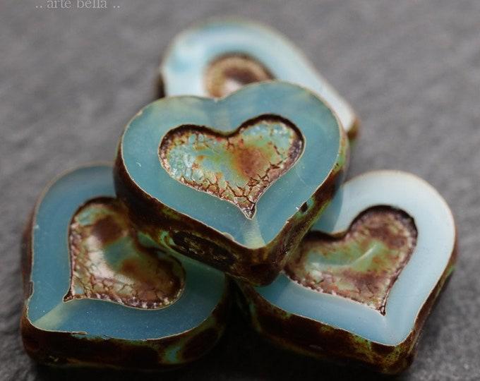 BLUE OPAL THUMPER No. 2 .. 4 Premium Picasso Czech Glass Heart Beads 14x12mm (7273-4)