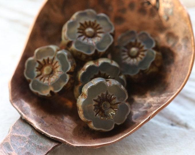 MINK PANSY 8mm .. 6 Premium Picasso Czech Glass Flower Beads (7674-6)