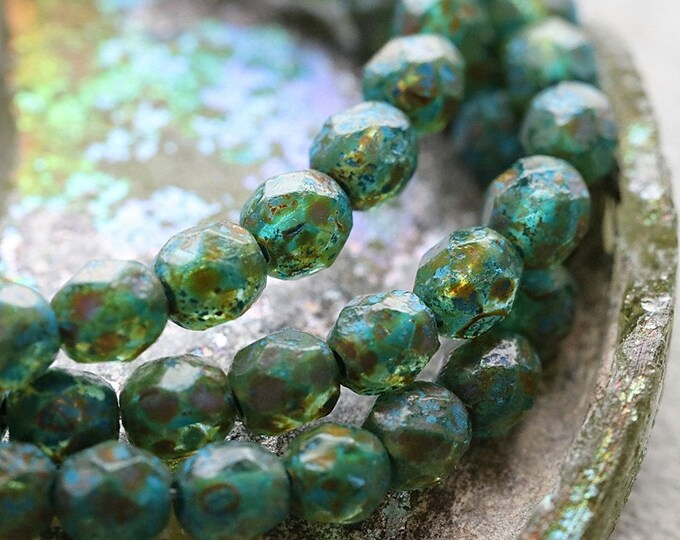 TEAL POND PEBBLES .. New 25 Premium Etched Picasso Czech Glass Faceted Round Beads 6mm (8405-st)