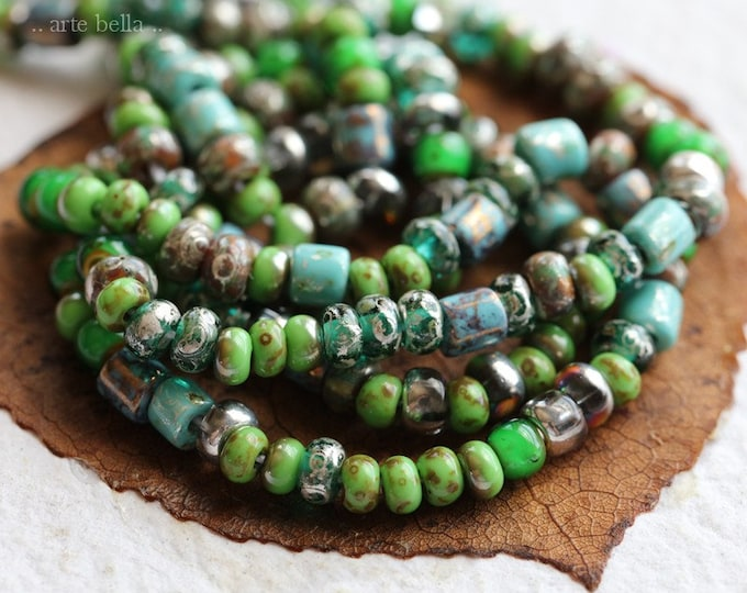 ISLAND SEED MIX No. 8106 .. 1 Strand Premium Picasso Czech Glass Glossy Aged Seed Bead Mix Size 6/0 (8106g-st)