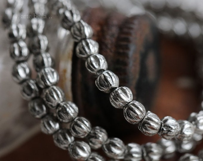 SILVERED MINI MELONS .. 50 Premium Czech Glass Melon Beads 3mm (6356-st)