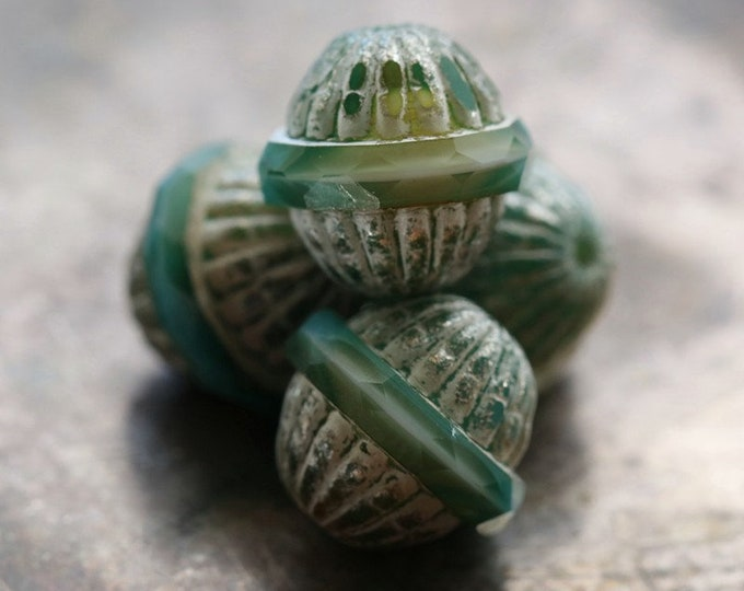 SILVERED TEAL GROOVES .. 4 Premium Picasso Czech Glass Saturn Beads 12x11mm (8327-4)
