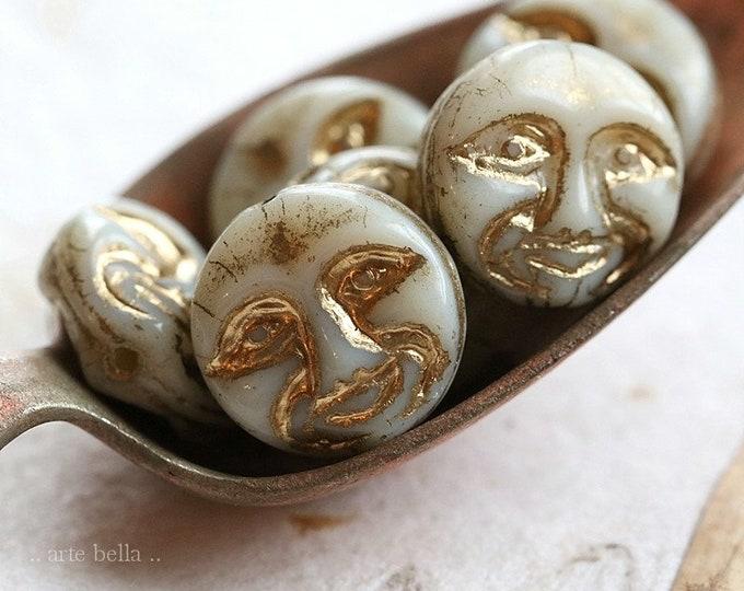 GOLDEN IVORY MOONS .. 6 Premium Czech Glass Moon Face Beads 13mm (8494-6)