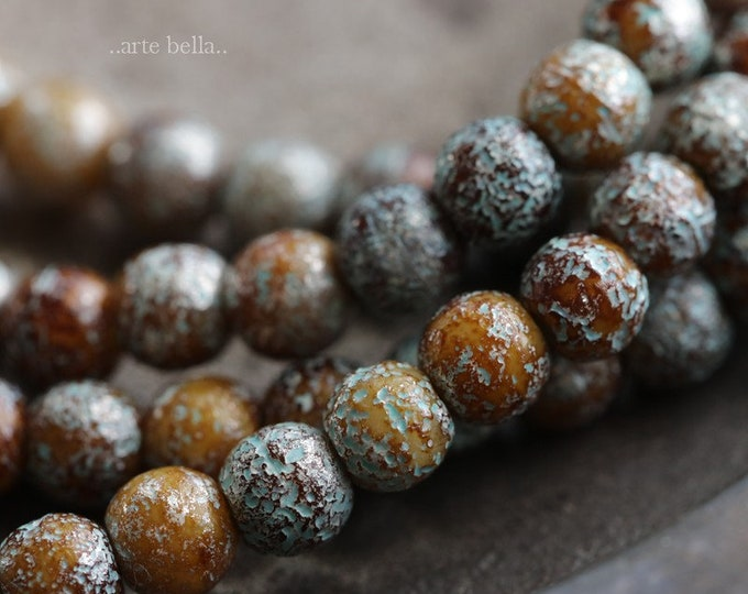 SILVERED EARTH MARBLES 4mm .. 50 Premium Picasso Czech Druk Etched Glass Beads (6322-st)