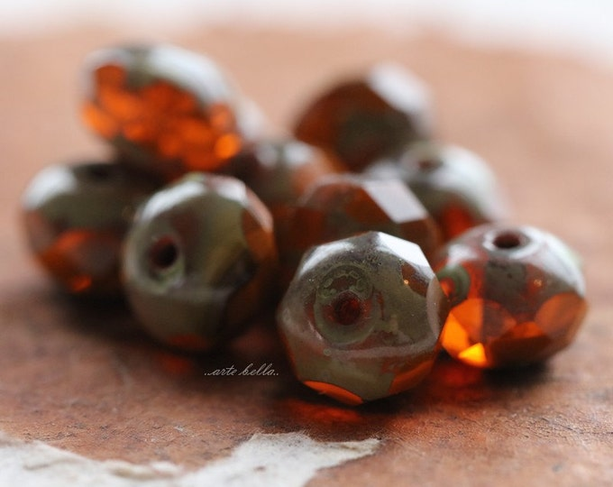ZINNIA No. 3 .. 10 Premium Picasso Czech Rondelle Glass Beads 6x8mm (4934-10)