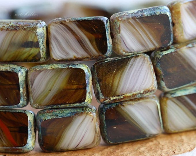 sale .. ROOT BEER FLOAT .. 10 Picasso Czech Glass Rectangle Beads 12x8.5mm (B1039-10)