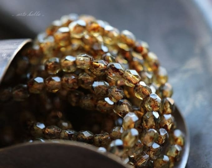 HONEY AMBER BITS .. 50 Premium Picasso Czech Glass Faceted Round Beads 3mm (4225-st)