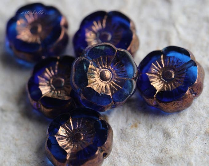 TROPICAL PANSY .. 6 Premium Picasso Czech Glass Flower Beads 12mm (5763-6)