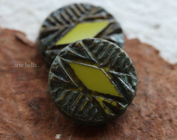 CARVED CHARTREUSE COINS .. 2 Picasso Czech Glass Carved Coin Beads 17mm (6293-2)