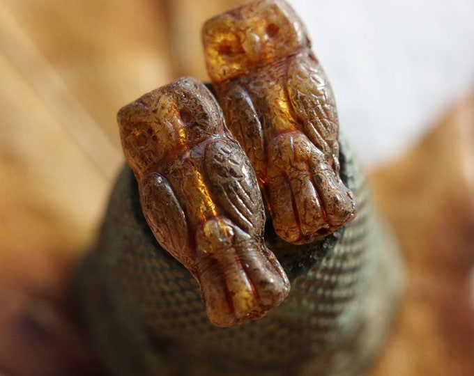 EARTHY AMBER HOOTS .. New 10 Premium Picasso Czech Glass Owl Beads 15x7mm (8705-10)