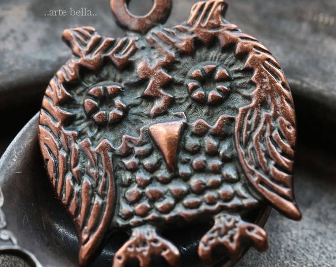 HOOTS No. 3 .. 1 Mykonos Greek Owl Pendant 25mm (M175-1)