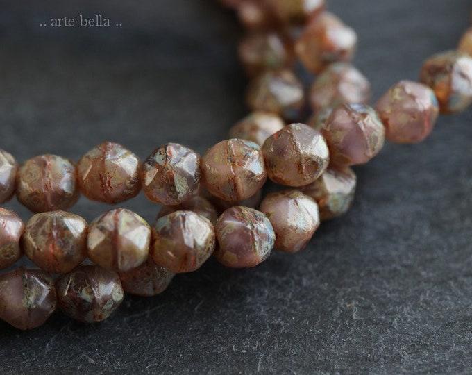 DESERT NUGGETS 4mm .. 50 Premium Picasso Czech Glass English Cut Beads (6561-st)