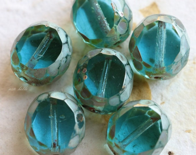 BEACHY SLABS No. 2 .. 6 Premium Picasso Czech Table Cut Glass Beads 12mm (5547-6)