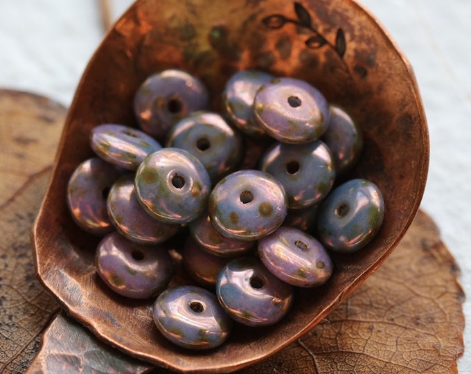PURPLE LUSTER DISC .. 50 Premium Picasso Czech Glass Disc Spacer Beads 6x2mm (8036-st)