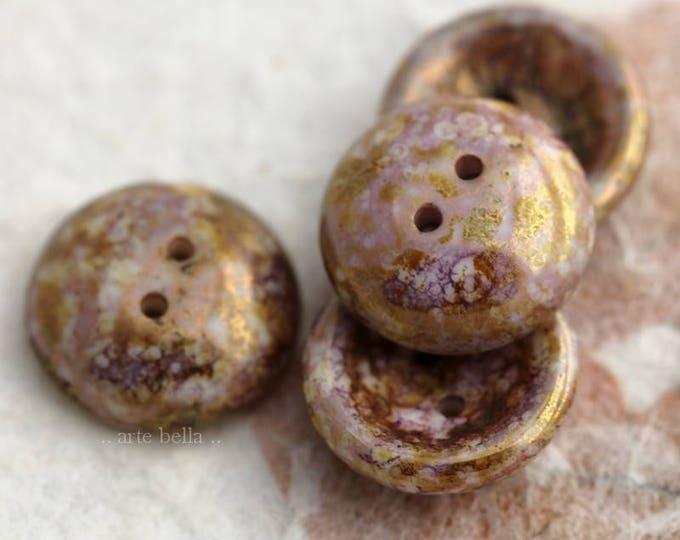 GOLDEN PINK BUTTON .. 4 Czech Picasso Glass Cup Button Beads 14mm (5976-4)