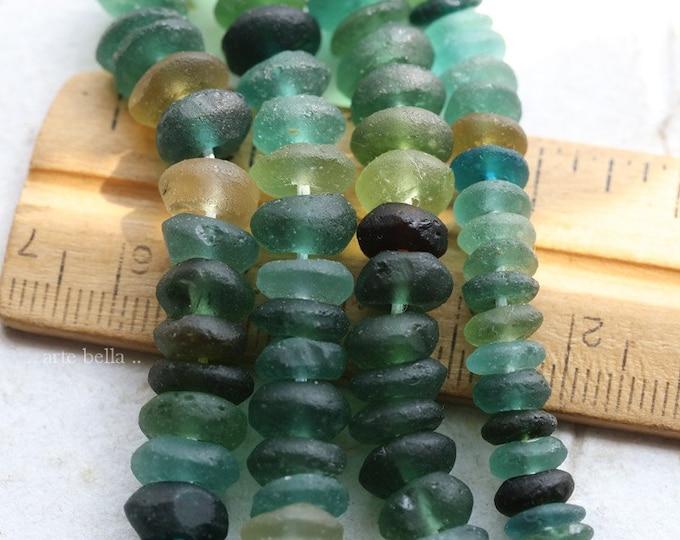 ANCIENT ROMAN GLASS No. 467 .. Genuine Ancient Roman Glass Smooth Rondelle Donut Bead Strand (rg-467)