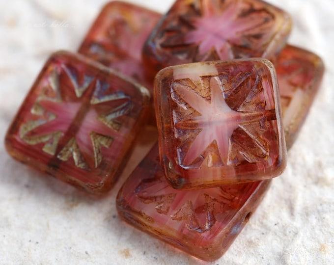 STARLIGHT PINKS .. 6 Premium Picasso Square Czech Glass Beads 15mm (4341-6)