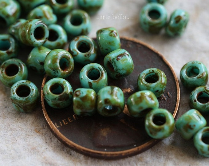TURQUOISE SEEDS No. 2 .. 100 Picasso Czech Glass Seed Beads Size 6 (6261-100)
